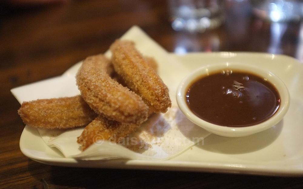 Mini chocolate filled churros
