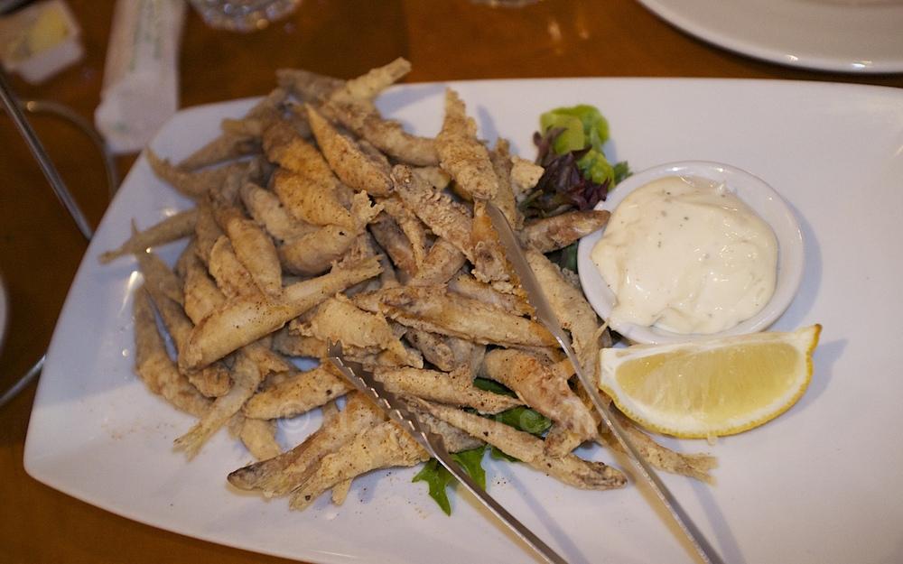Crispy fried white bait