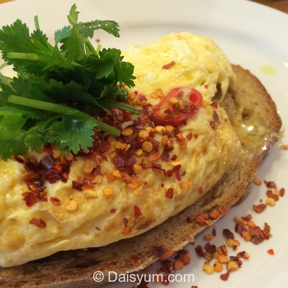 Free Range Scrambled Eggs with Chilli and Coriander on Toast