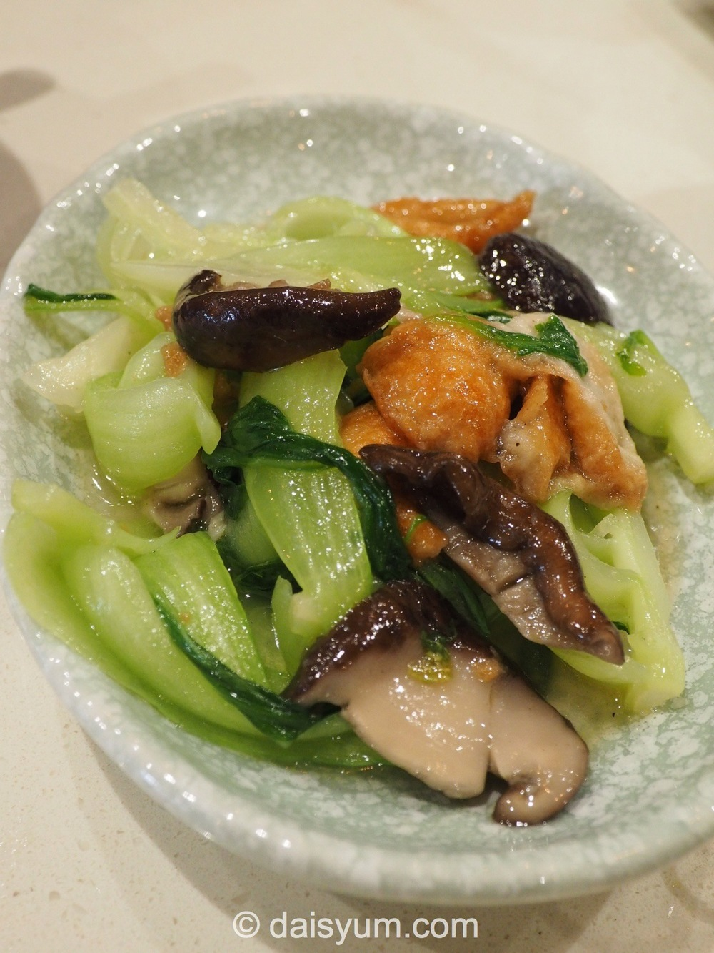 Chinese cabbage cooked with mushrooms and chinese donuts