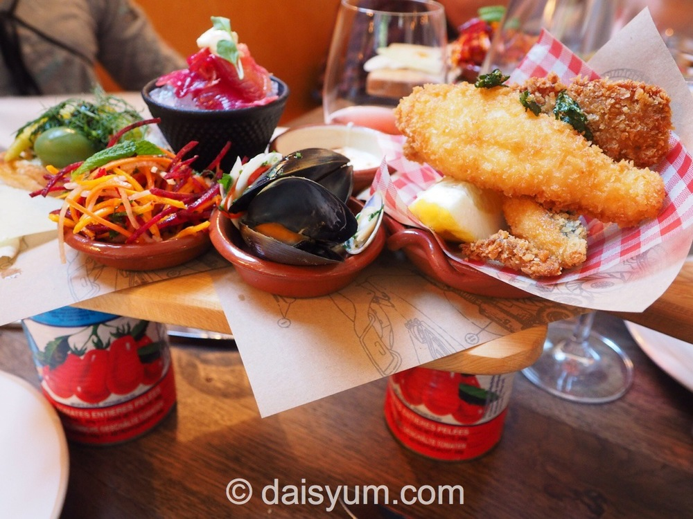 Fish Plank - cured and crispy fish, Italian cheeses, pickles and crunchy salad