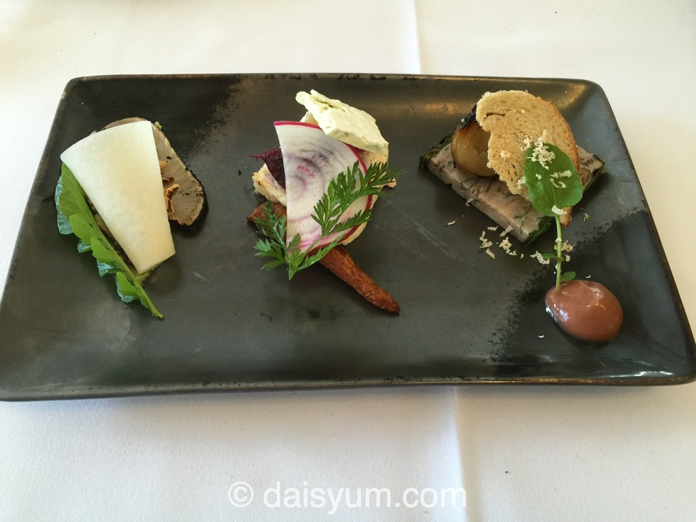 Seared Hiramasa Kingfish, Baked Ricotta and Woodside Goats Curd, Pork Head and Horseradish Terrine