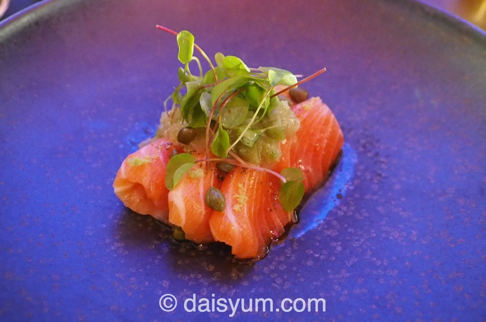 Ocean trout, pickled wasabi, smoked yuzu soy matched with 2014 Cloudy Bay Sauvignon Blanc