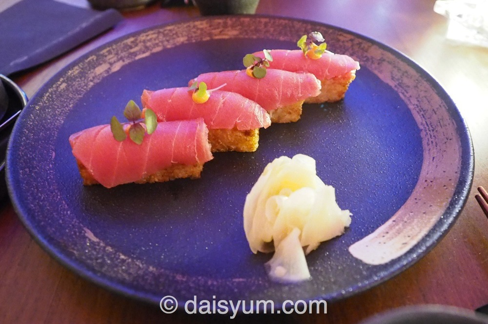 Crispy rice, spicy tuna matched with Tengumai Junmai Daiginjo50 sake