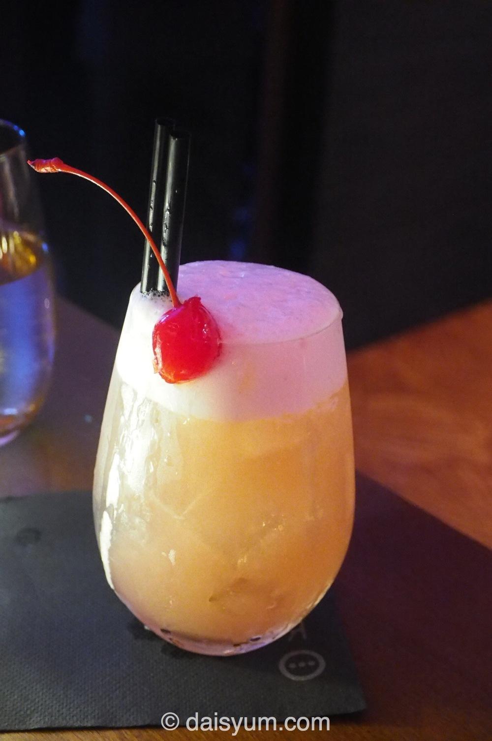Cherry blossom sour cocktail