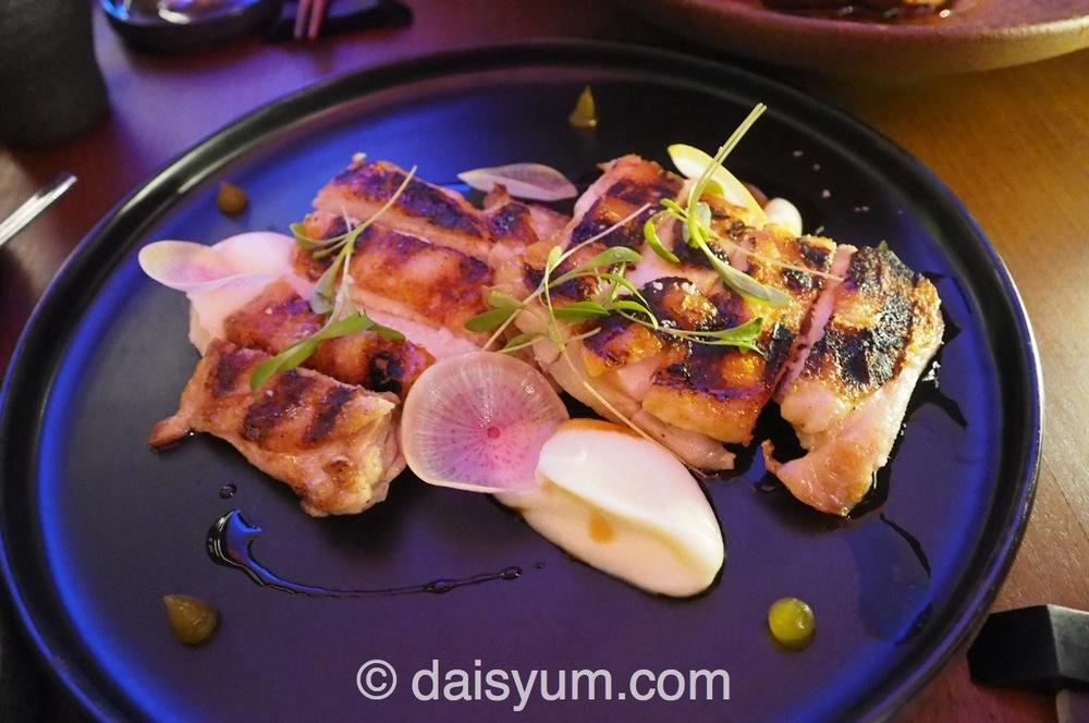 Chicken, yuzu honey, celeriac, yakitori sauce, steamed rice matched with Houraisen Bi Junmai Daiginjo sake