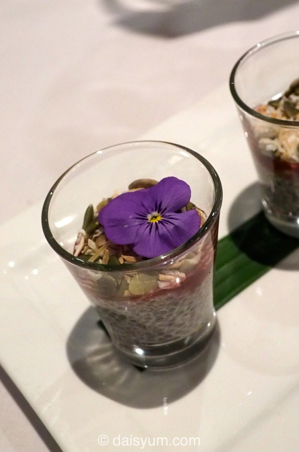 Mini Chia Pudding shot with Davidson plum jelly, coconut & peptic seeds