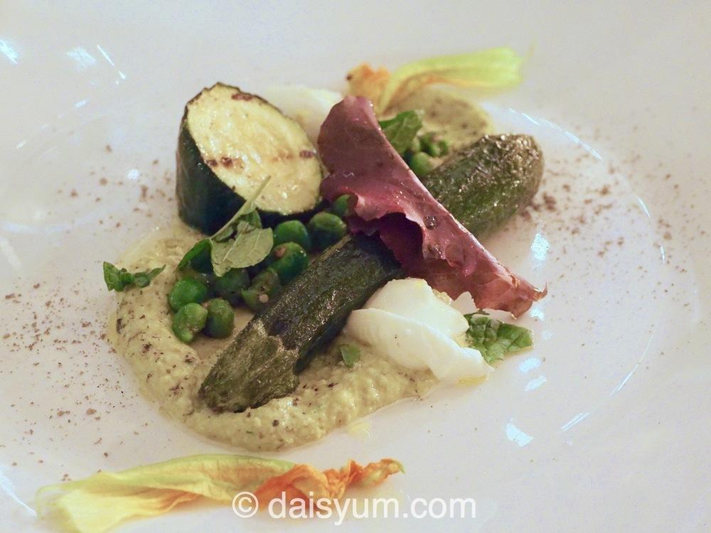 Zucchini - buffalo mozzarella, mint, pea, za'atar matched with 2013 Geoff Hardy Gruner Veltliner