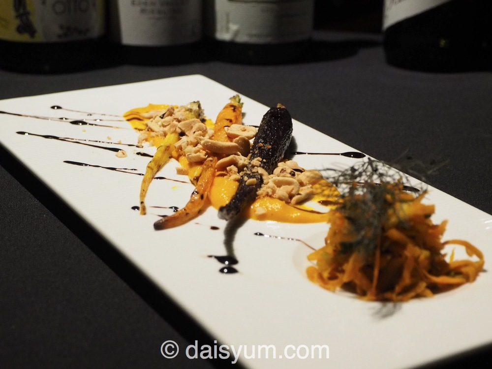 Carrot - cumin puree, vincotto, peanuts matched with 2010 Barratt Pinot Noir