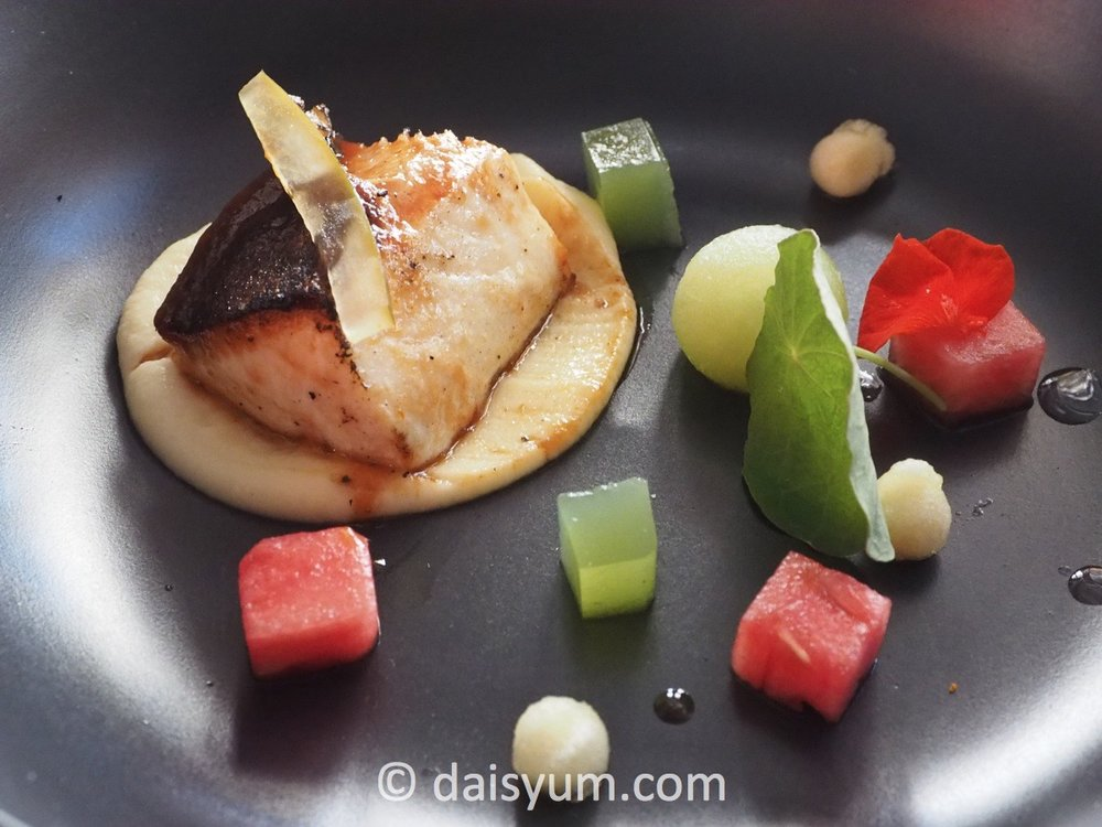 Torched kingfish with celeriac puree, honeydew melon and green apple pearls, nasturtium leaves with cucumber jelly