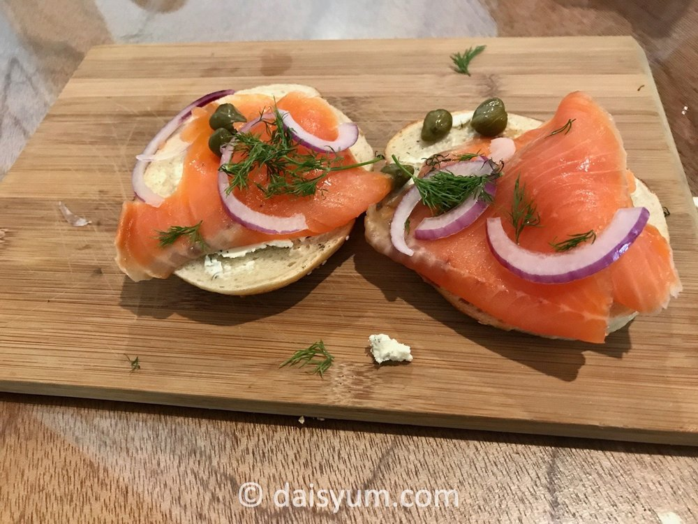 Smoked salmon bagel - herbed schmear, smoked salmon, red onion, capers and fresh dill
