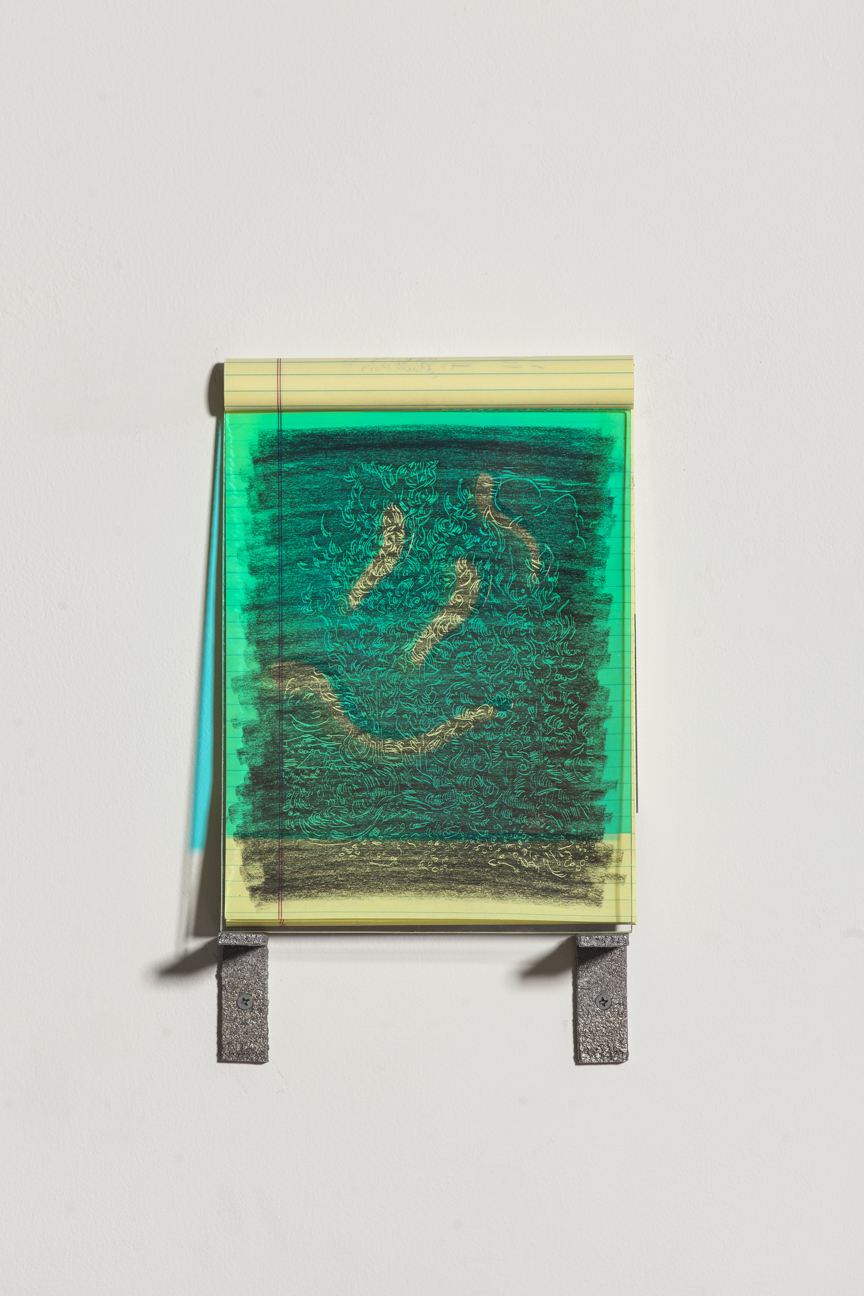 Anthony B. Creeden, Impressionisms , 2015. Charcoal on paper, cut dichroic film on glass, and cast aluminum brackets. 14 x 8 1/2 inches.Photo credit: Brian Fitzsimmons