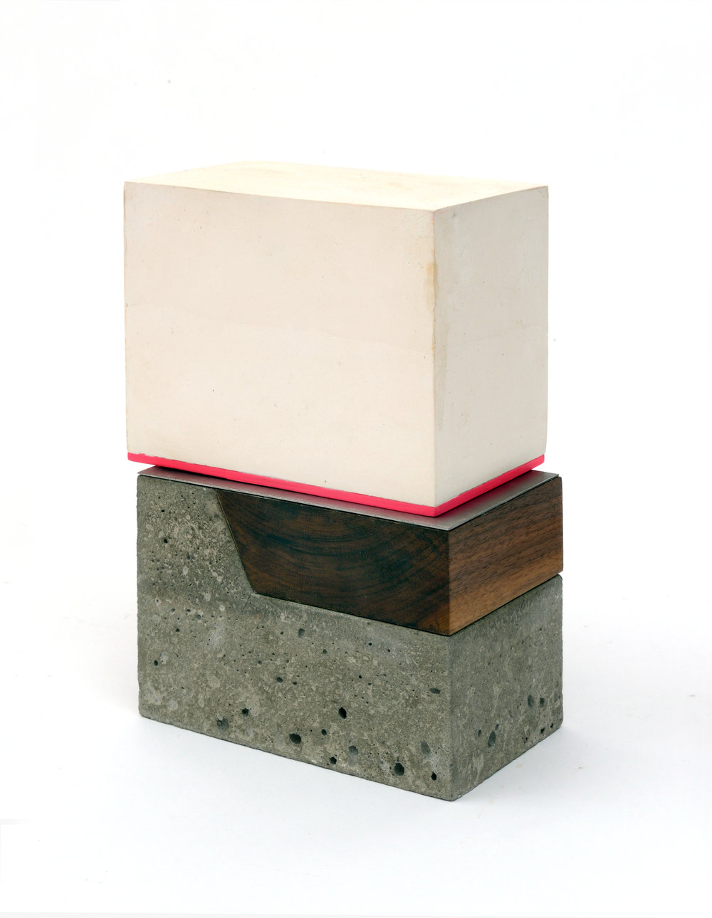 Plaster, Concrete, Steel & Walnut with Pink Line