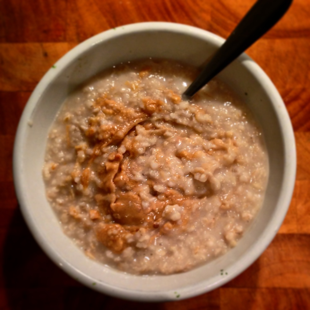 Peanut Butter Swirl Porridge, under 5p/portion, delicious, warming and filling