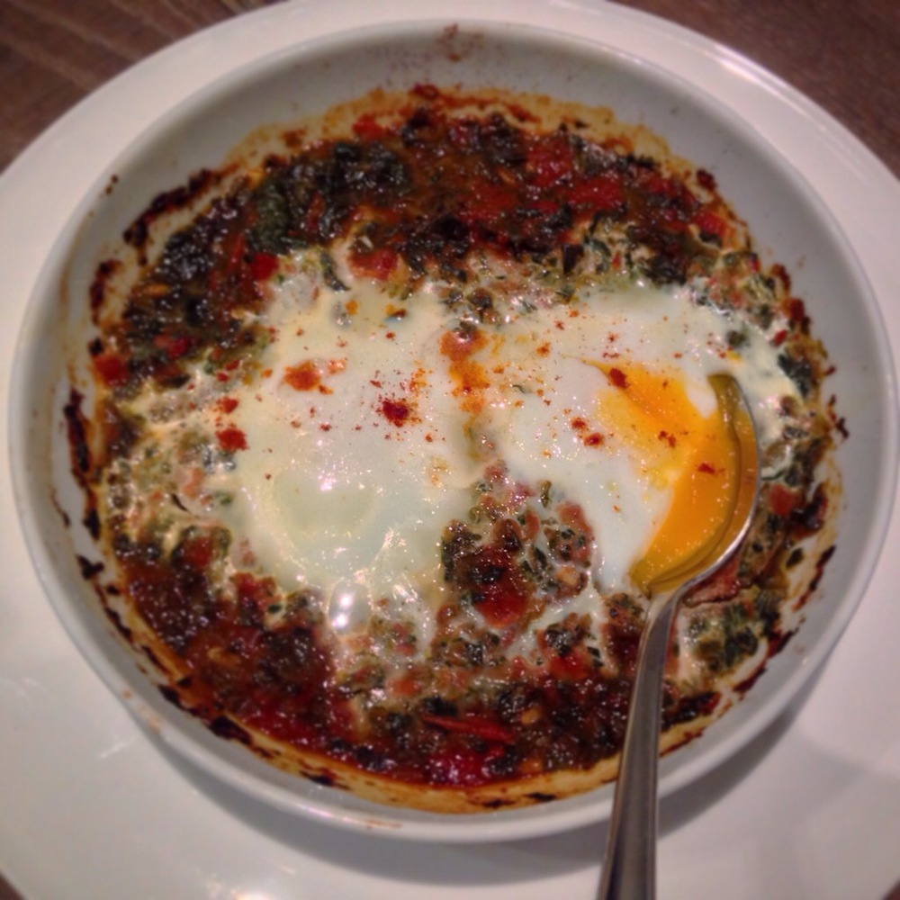 All about internal heating this week and this baked eggs with spinach and tomato hit the spot at under 53p/portion!