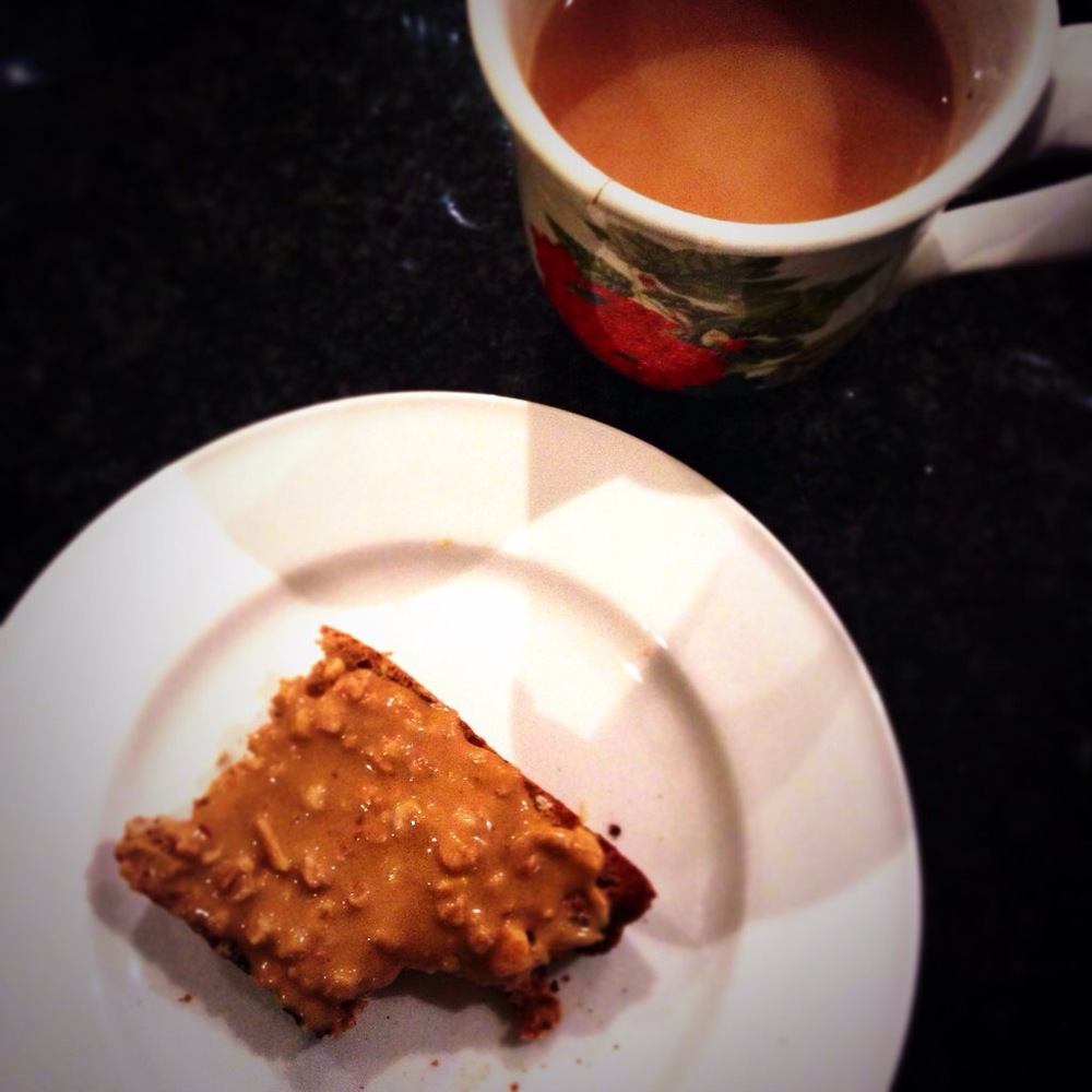 Humble peanut butter on toasted malt granary bread and tea.  11p