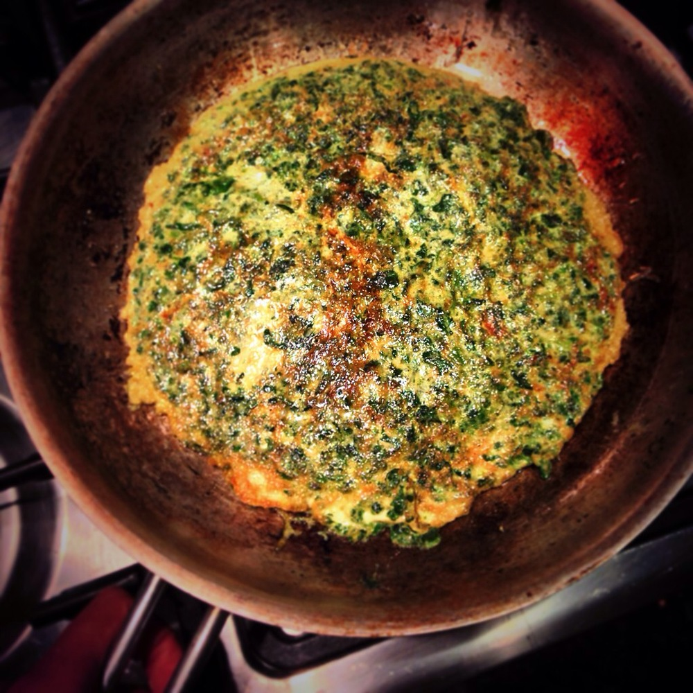 Green Omelette (packed with spinach and sprinkled with paprika), under 42p.