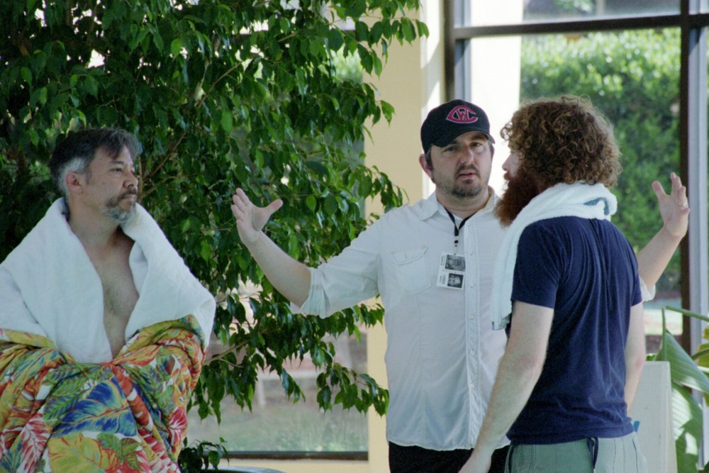 """First day of shooting, at the pool with lead actor Tim Brosnan (""""Simon"""") and cinematographer Daniel McCord."""