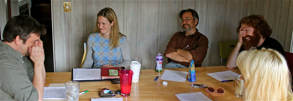 FIRST PRODUCTION MEETING \ l-r: Me, Jennifer Baxley (Producer), Tim Brosnan, Daniel McCord (DP), Madelaine Hoptry.