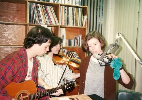 (l-r) David Hooker, Ames Asbell, Dorothy Booraem from Biffen Gjaney play live in the studio of WPLS radio.