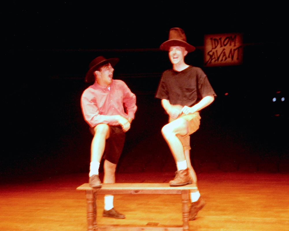 "Chris White and Mark Allen perform ""Cheever's Bench,"" 20 May 1992, McAlister Auditorium."