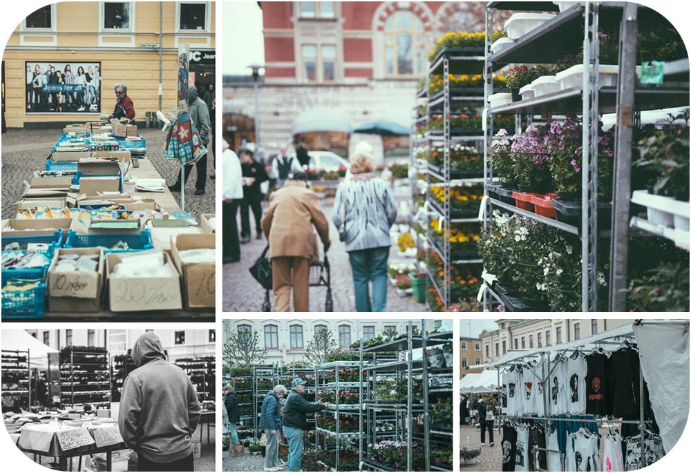 På onsdagar är det lite liv och rörelse på Lilla torget, mest blommor, eller nästan bara blommor förutom lite diverse och tröjor... Men det livar upp stan för en stund, speciellt idag då vädret visade sin baksida....