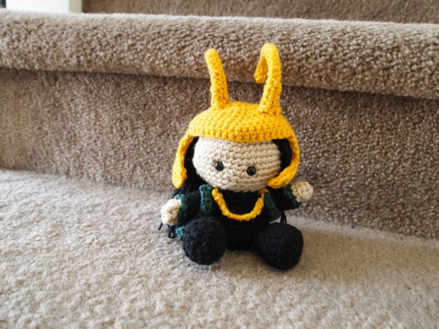Loki with helmet on