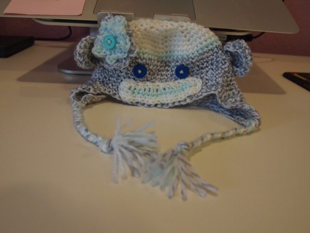 sock monkey newborn hat