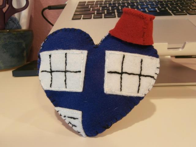 Felt Tardis heart front