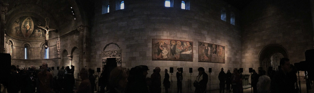 "Janet Cardiff's sound installation, ""The Forty Part Motet"" is nothing short of brilliant. Experiencing it yesterday at the Cloisters has left me in a (good) daze ever since. I journeyed alone so I could traverse the space with no distractions and the walk through Fort Tryon Park on a misty gray day was the perfect climate. Took this image with my phone but it doesn't do the work justice."