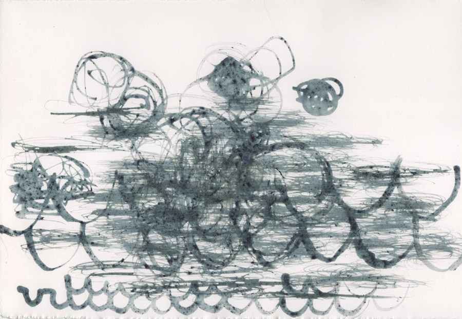 """Freeze frame: dutch colonial."" Blueberry ink on paper. 7.5""h x 11""w, 2014."