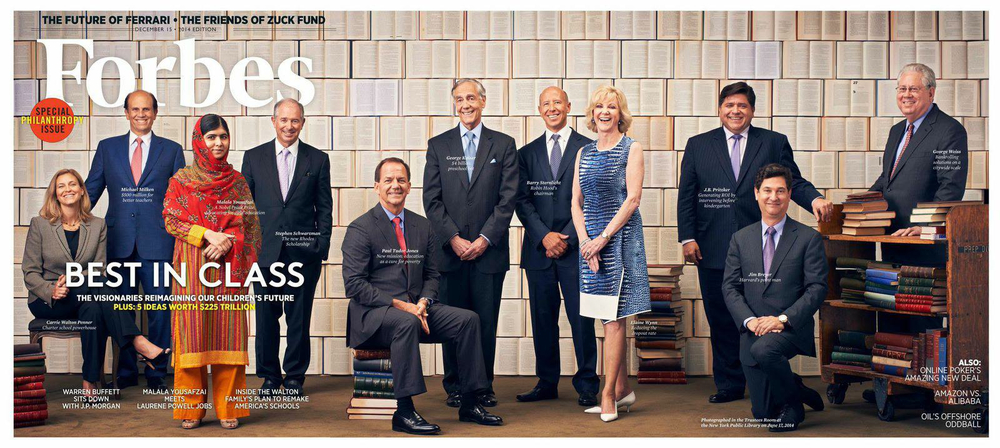 Set design for cover of Forbes, Special Philanthropy Issue, December 2014. Photography by Michael Prince.
