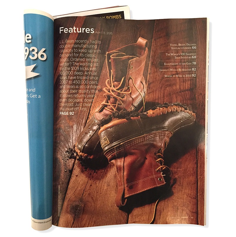 Prop styling LL Bean boots for Forbes Magazine