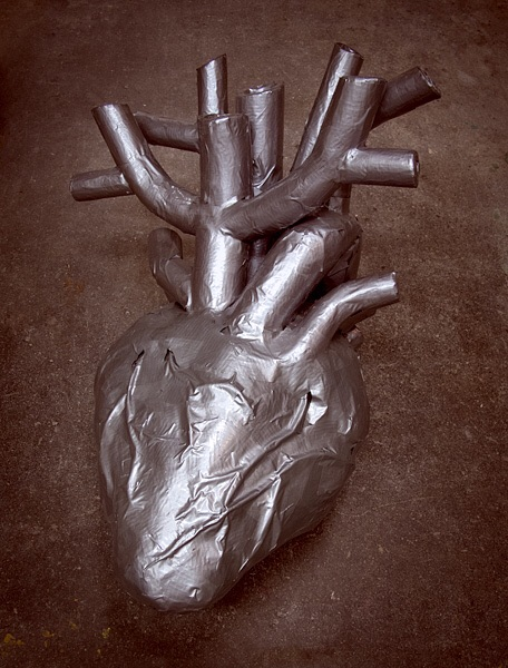 It's been 3 years to the day that my dad unexpectedly passed away. This heart is made from materials found in his garage; lots of duct tape, foam rubber, newspaper and cable wire. For sentimental weight, I buried one of his racing trophies in the middle. Miss you, pop.