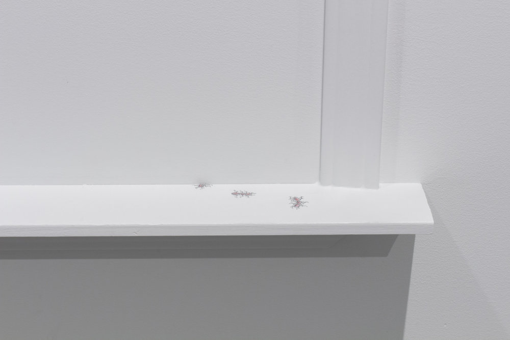 """1-2-3"" (detail), 2016, Graphite, colored pencil, baseboards, paint, 48 inches x 30 inches x 3 inches"