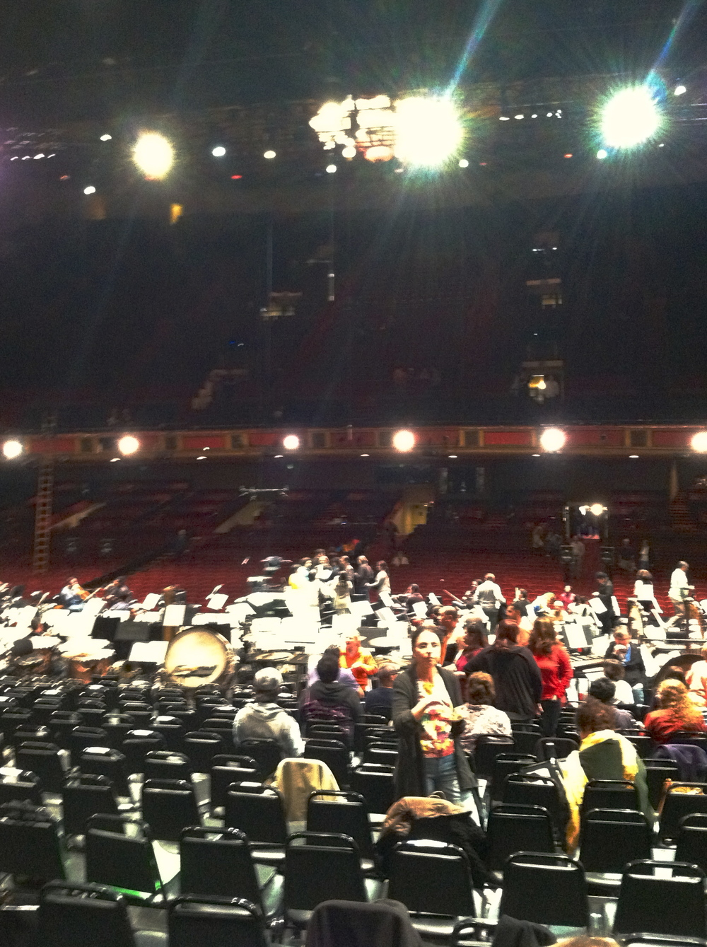 The view from my seat during a rehearsal break - as Dudamel is among the group standing next to the podium, you can get a sense of the distance between the chorus and conductor