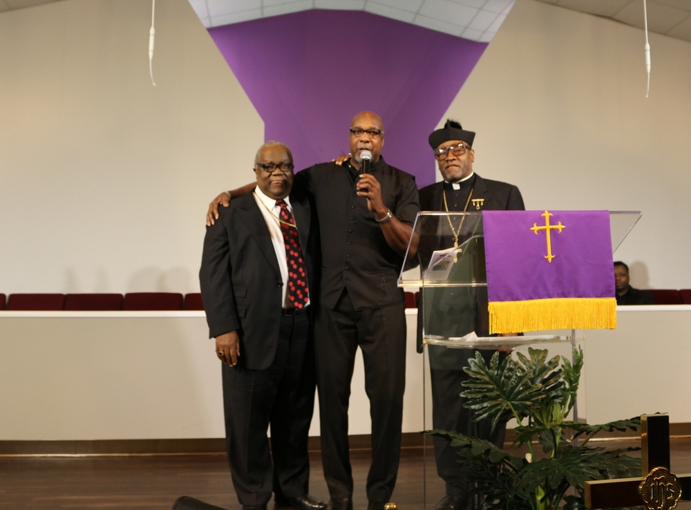 Bishop Kirby, Bishop-Elect Meredith and Apostle Leigh