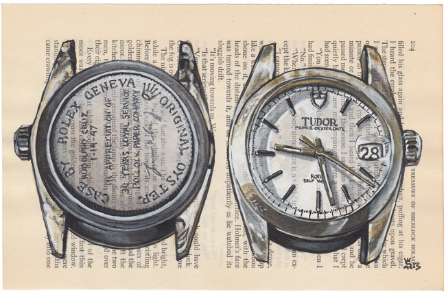 This Tudor Watch painting was the feature image in the Time and Tide interview...