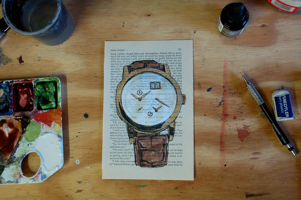 A Lange Sohne Timezone watch painting process