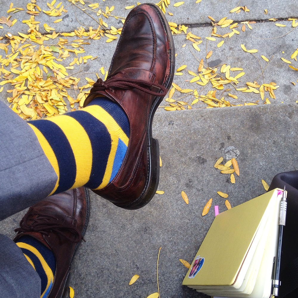 The end of the first day of meetings was spent with Mack Weldon. Great group of gentlemen. They are heavily focused on contemporary style. I walked away with these perfect yellow socks to round out the Sunflowerman accents.