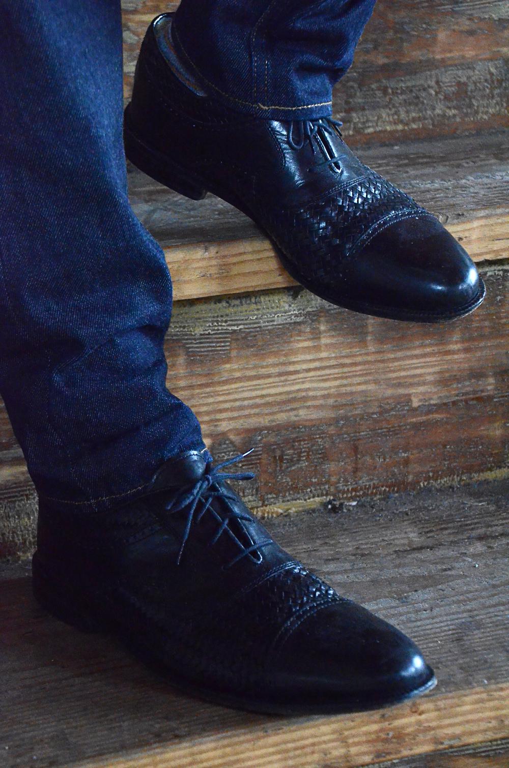 San Remo, black woven brogue