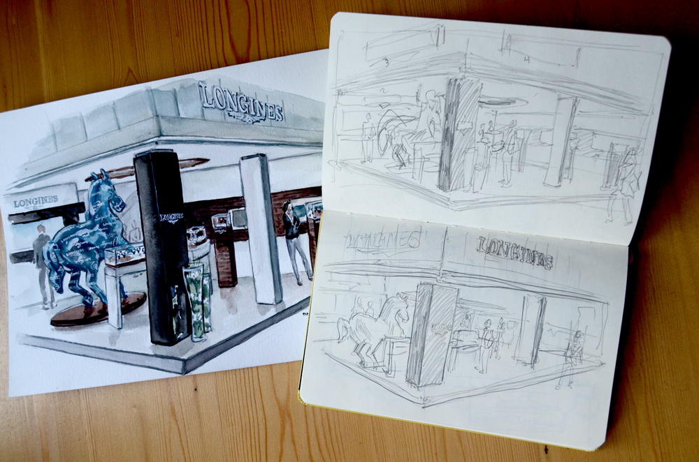 Sketching the Longines Booth at Baselworld