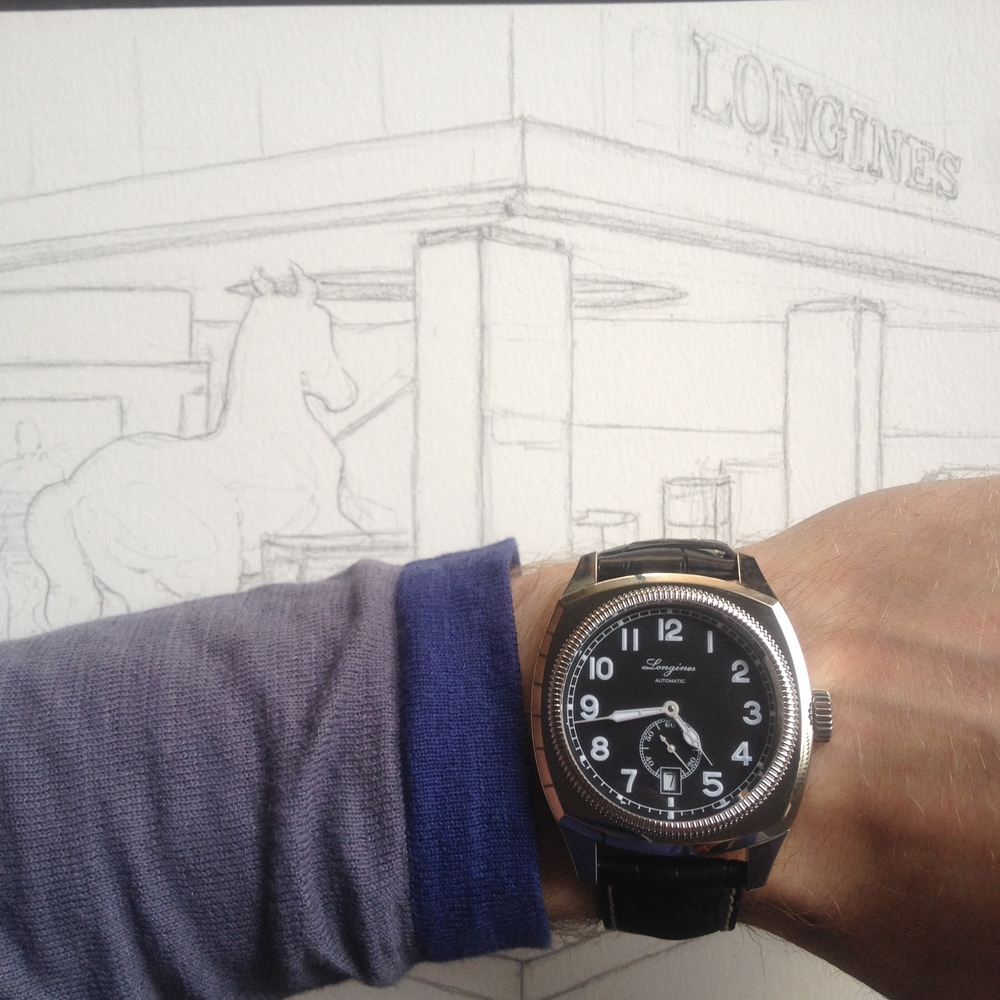 The first painting in the Longines Watercolour Watch Project was this image of the Longines booth at the Baselworld main building. This is the drawing before the painting. see it here