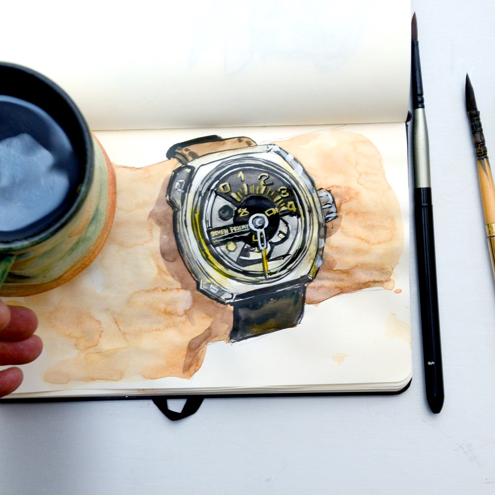 Sunflowerman Sketchbook with coffee and SevenFriday V