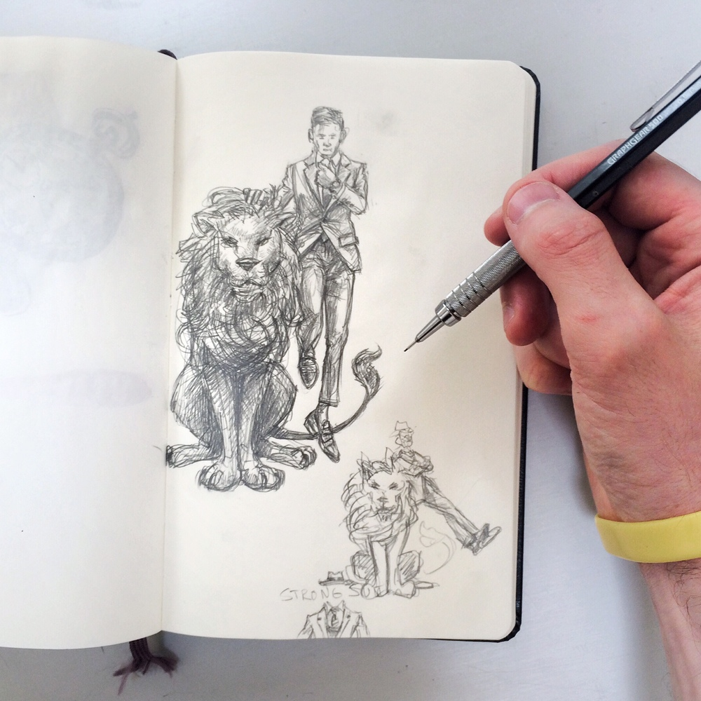 Sunflowerman Sketchbook with lion and strong suit