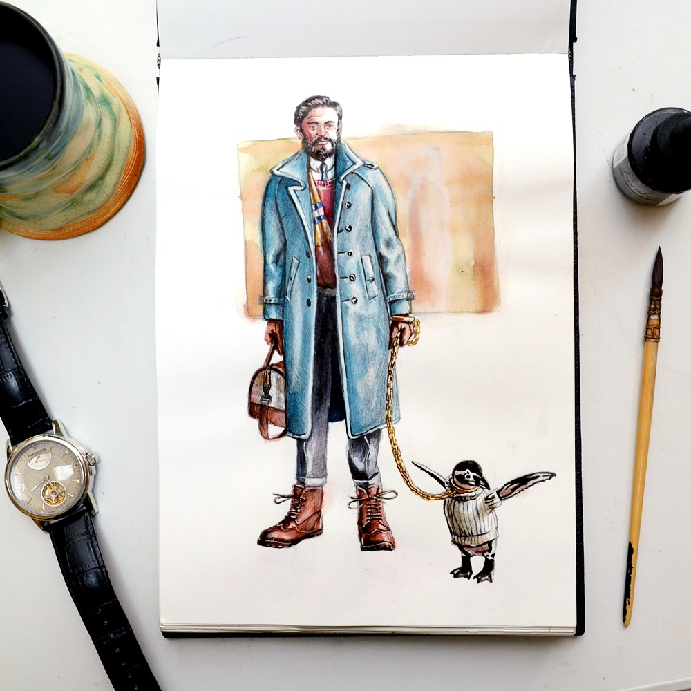 Sunflowerman Sketchbook with coffee and penguin