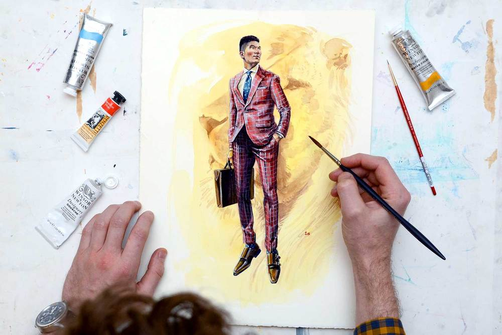 Painting Leo wearing Strong Suit