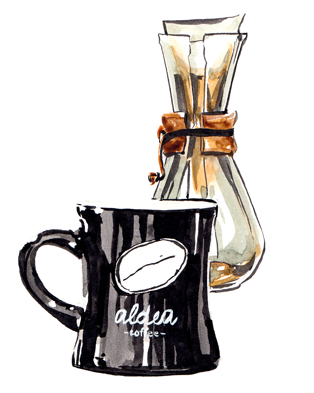 Aldea Coffee watercolor illustration