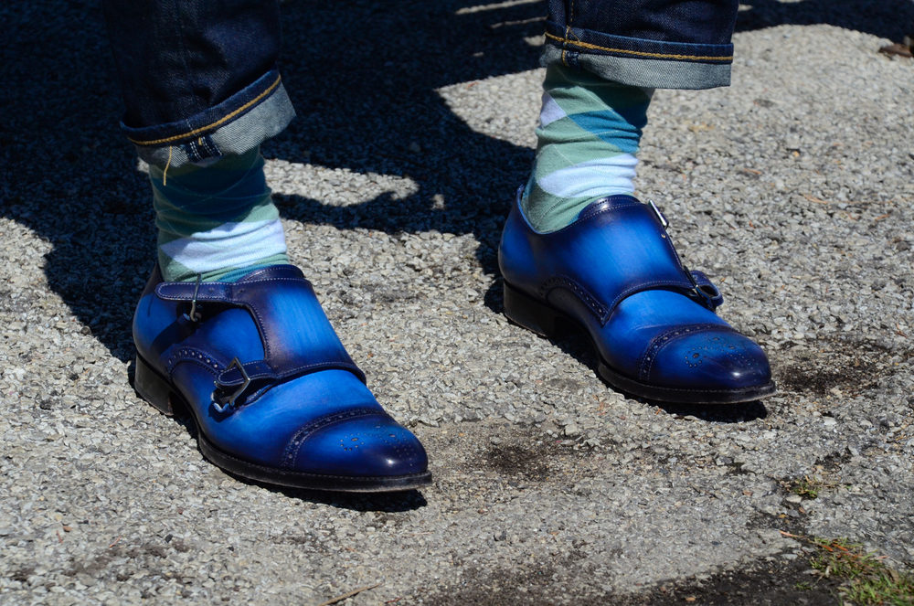 Andres Sendra double monk strap blue patina