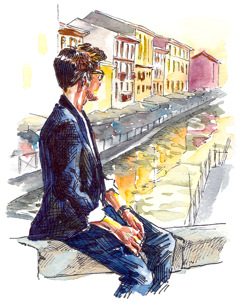 Menswear looking over the canals in Navigli, Milan